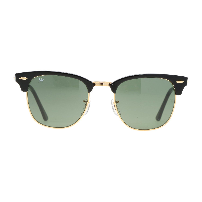 Wsunglass Sunglasses W955 W0365 Black Frame Green Lens Men Women 51mm RB3016 Warbyparker