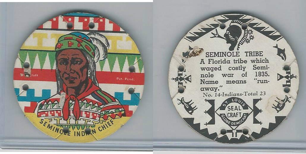 M30 St Louis Globe Seal Craft Disc 1930s Indians 14 Seminole