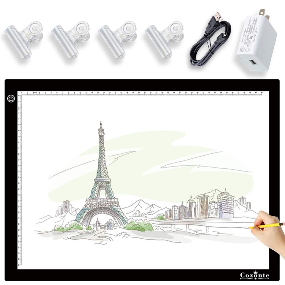 A3 Light Box, Diamond Painting Accessories, Cozonte A3 LED Tracing Light Pad for 5D Diamond Painting,Sketching, Designing, X-ray Viewing,Light pad with Clips