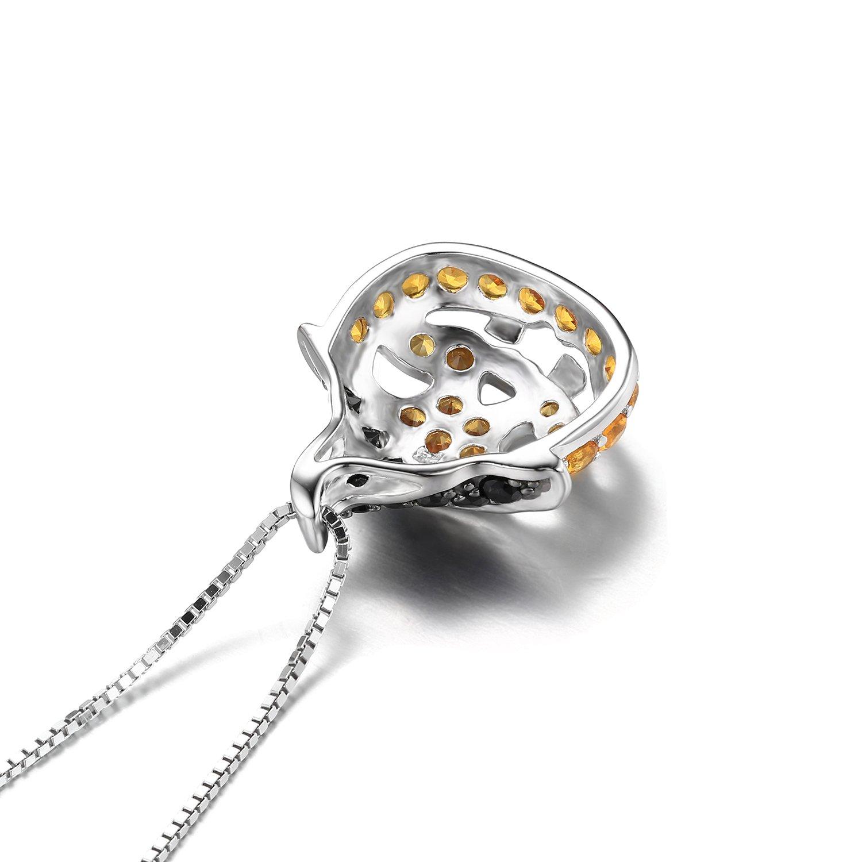 l'ultimo 0d9a3 ebb3d jewelrypalace 1.7 CT elegante Toussaint collana ciondolo donna in Frome  zucca in zaffiro di sintesi Giallo e apinelle vera nero una catena in  argento ...