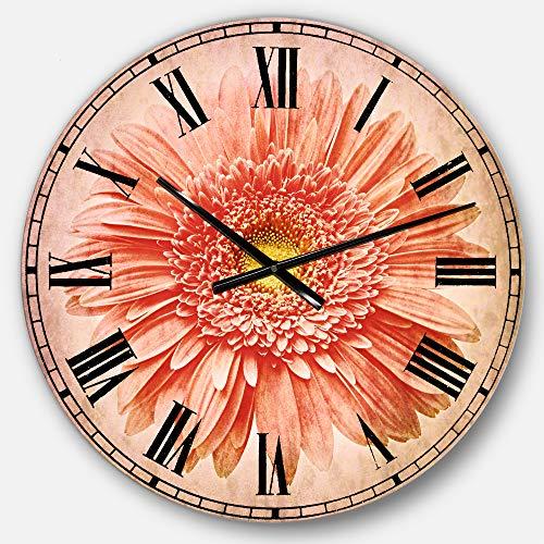 Designart Single Daisy on White Background' Oversized Floral Metal Clock, Circle Wall Decoration Art, 23x23 - Single White Daisy