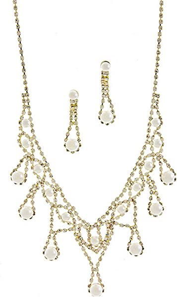 6d7a3628860baf Amazon.com: V Style Cream Faux Pearl Bridal Necklace Set W Crystal Gold Tone:  Jewelry Sets: Jewelry