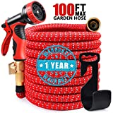 COLAM 100FT Expandable Garden Hose, Flexible Expanding Hose Extra Strength Fabric Outdoor, Red Silver Water Hose with 3/4 inch Solid Brass Fittings 9 Function Spray Pattern Nozzle