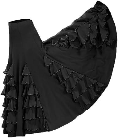 Falda de Flamenco Maxi Plisada Cintura Elástico Vestido Volante ...