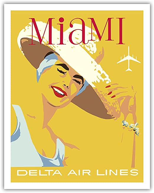 """Delta Air Lines Fort Lauderdale 11/"""" x 17/"""" Collector/'s Travel Poster Print"""