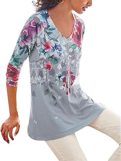 Sudadera Tops Camisa Boho con Estampado de Flores Manga Larga y Cuello en V de Moda para Mujer Blusa Casual Ligera Moda Sudaderas Mujer por SUNNSEAN Blusas Camisetas (L, Gris): Amazon.es: Instrumentos