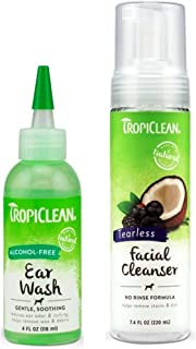 product image for TropiClean Pet Grooming Bundle, 1 Each: Alcohol-Free Ear Wash, and Tearless Facial Cleanser
