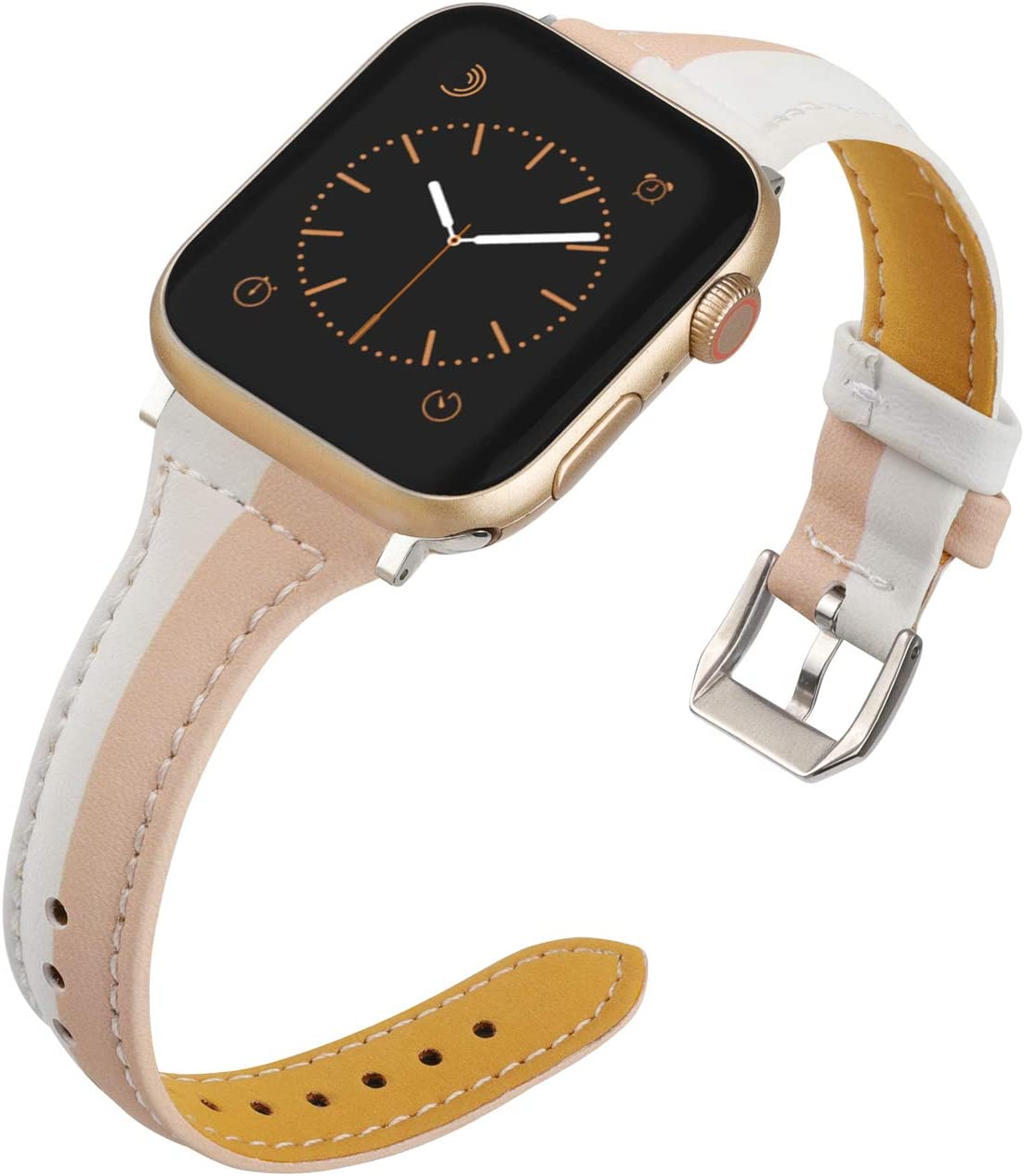 Wearlizer Thin Leather Compatible with Apple Watch Bands 42mm 44mm for iWatch SE Top Grain Strap, Womens Mens Slim Nude White Leisure Cute Two-Tone Wristband (Silver Clasp) Series 6 5 4 3 2 1 Sport