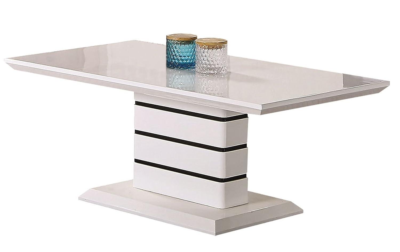 Couchtisch DakGold 26, Farbe  Weiß Hochglanz   Schwarz - Abmessungen  42 x 110 x 60 cm (H x B x T)