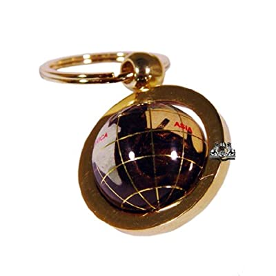 Unique Art 1-Inch Diameter Amberlite Pearl Swirl Ocean Gemstone World Globe Keychain with Gold Keyring: Home & Kitchen