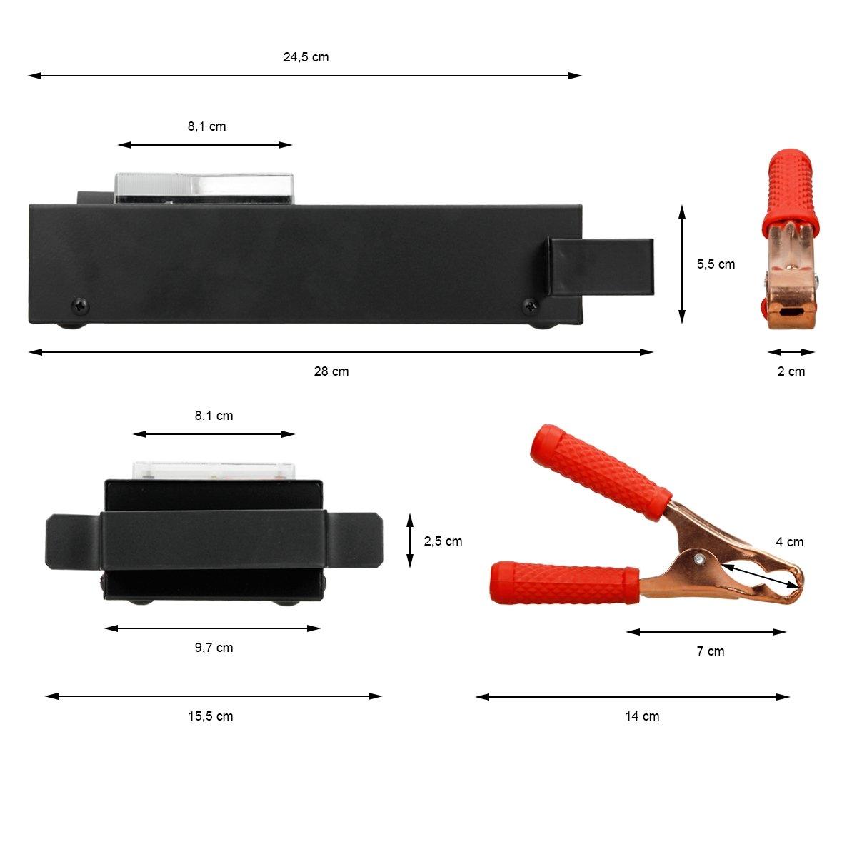 ECD Germany Testeur de batterie 12V 100A avec Affichage et 2 pinces de 30cm de c/âble