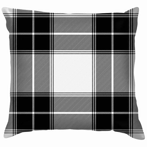 Tartan Gabardine Fabric Scottish Cage Cotton Throw Pillow Case Cushion Cover Home Office Decorative, Square 12X12 Inch