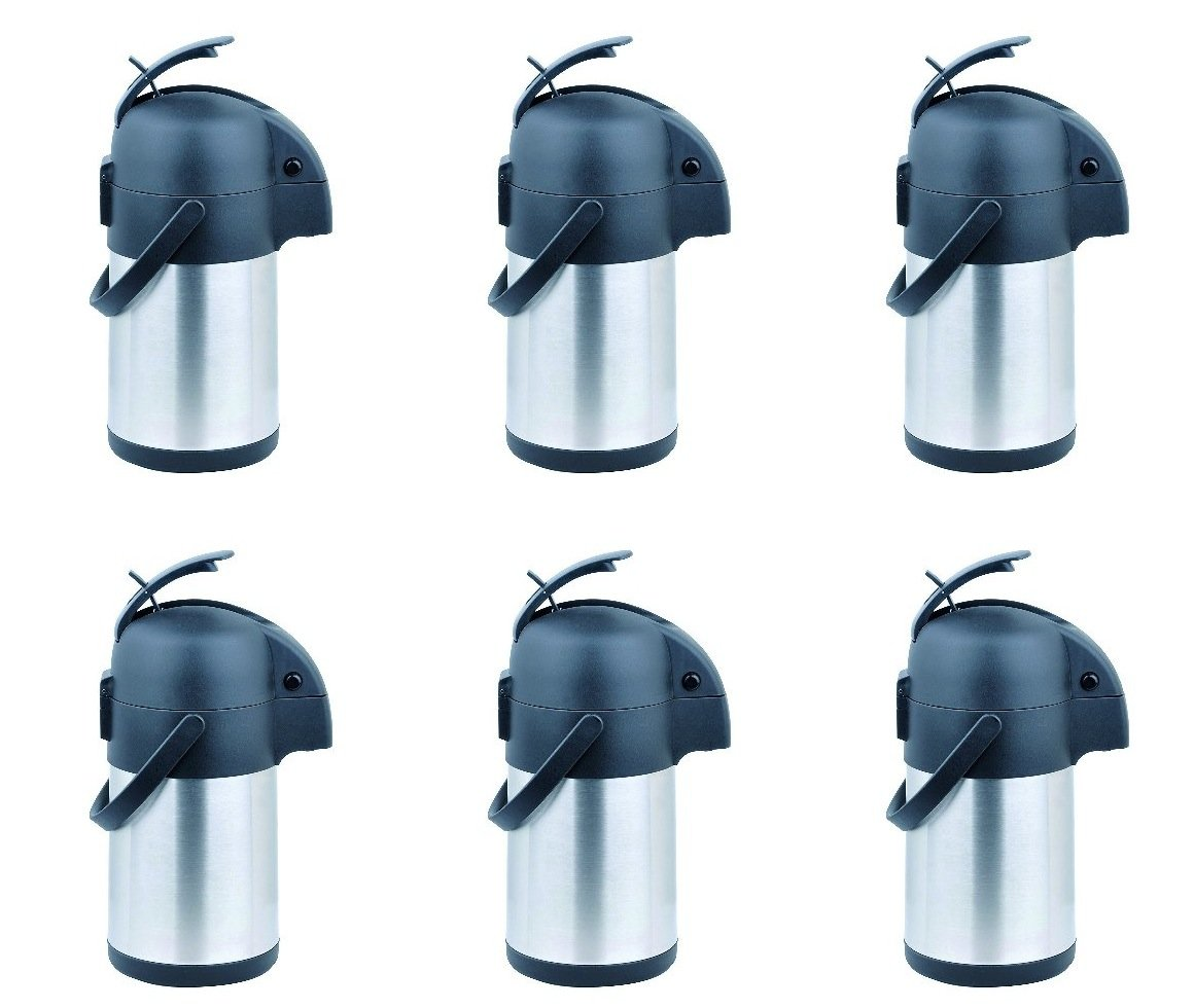 6 Pack - Cafe Moka Stainless Steel Coffee Airpot - 2.2 Ltr