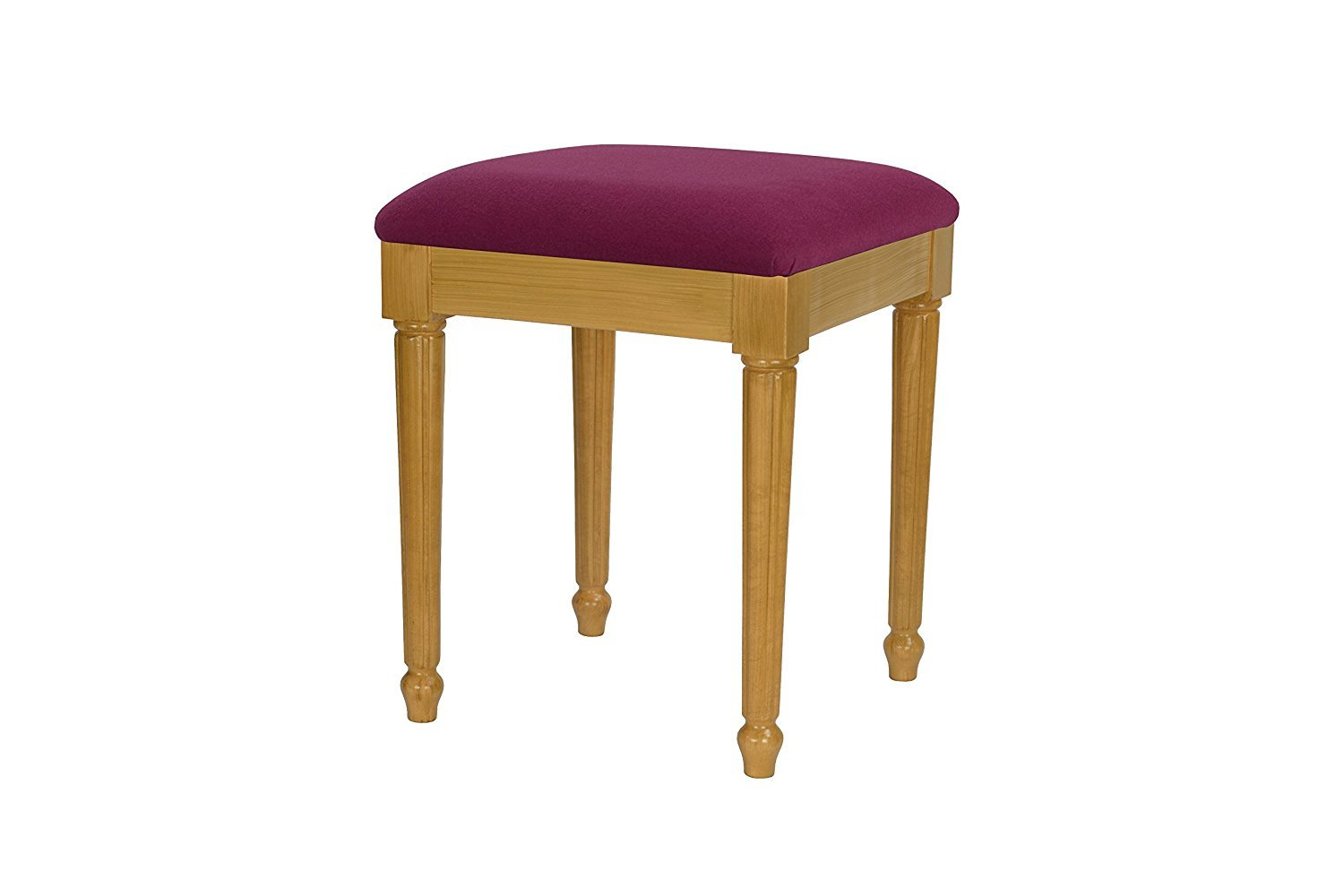 High Street Design Beech Grain Small dressing table/footstool with Fluted style legs and Cream Faux Leather Cushion 8717