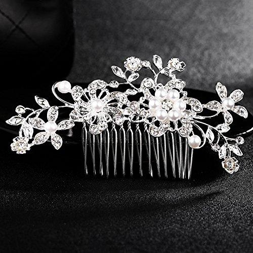 Onemoret Fleur épingles à cheveux mariage Demoiselle d'honneur Cristal Strass Perles Peigne Clips