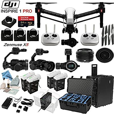 DJl lnspire 1 Pro Quadcopter Drone with eDigitalUSA Ultimate Flight Kit: Includes 2 Remotes, Go Professional Hard Case, 2x TB47B & 2x TB48B Batteries with Charging Hub, 4 Piece Filter Kit and more...
