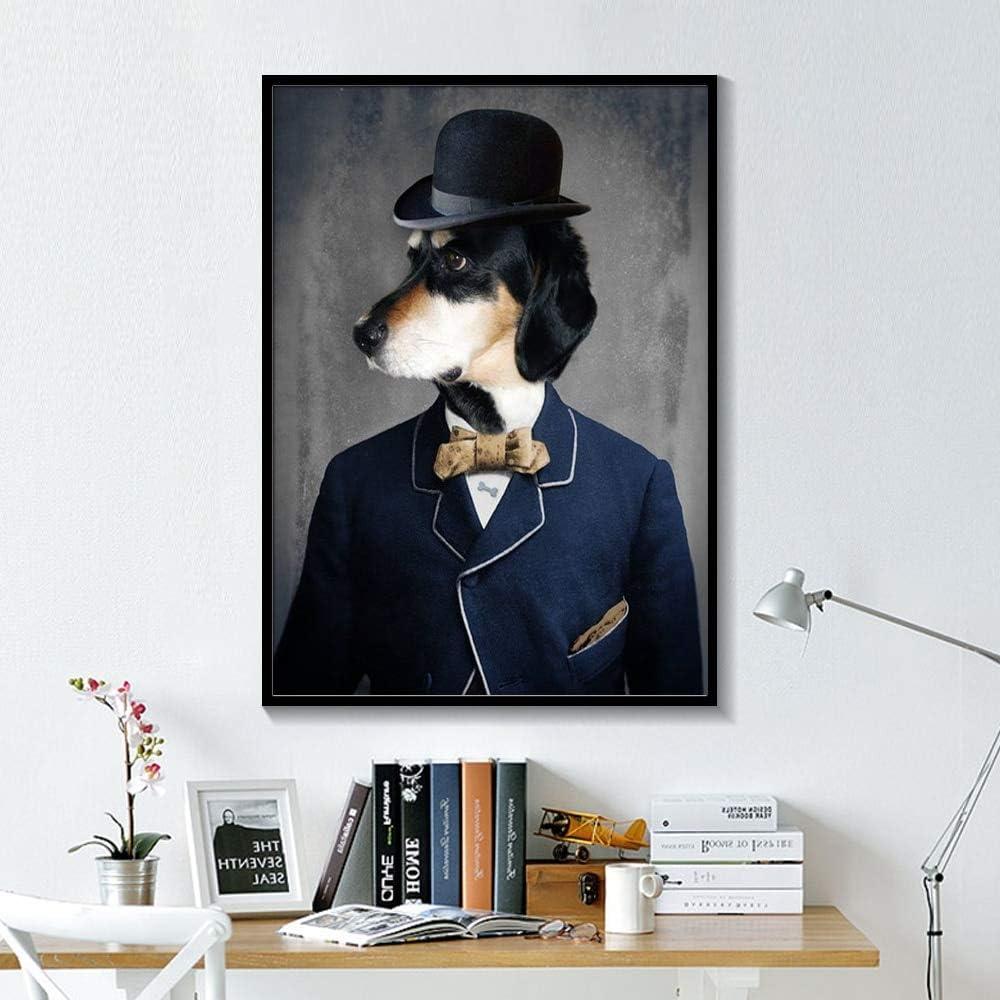 tzxdbh Blanco y Negro Elegante Perro Gato Lobo Zorro Arte de la Pared Carteles e Impresiones Animal con un Sombrero Pluma Pluma Lienzo Pintura decoración del hogar ...
