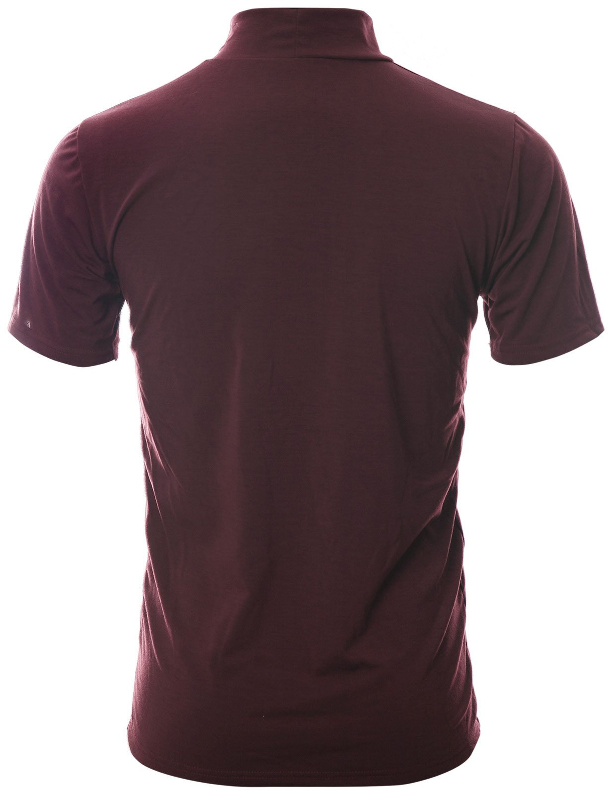 Ohoo Mens Slim Fit Soft Cotton Short Sleeve Pullover Lightweight Turtleneck Warm Inside /DCT101-BURGUNDY-2XL by Ohoo (Image #3)