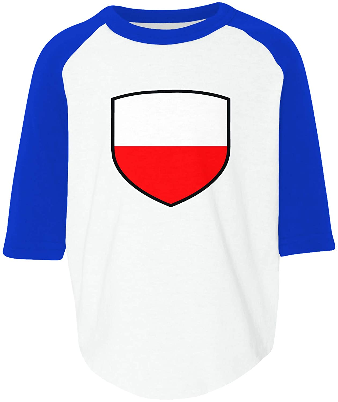Amdesco Poland Shield Polish Polska Flag Toddler Raglan Shirt