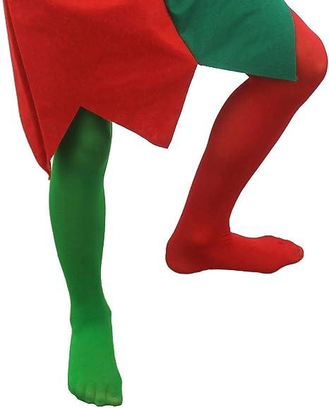 ILOVEFANCYDRESS Calcetines DE Elfo Rojos Y Verdes para NIÑO ...