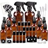 Glass Spray Bottles Kits, BonyTek Empty 12 10 ml Roller Bottles, 12 Amber Essential Oil Bottle(216oz,24oz,82oz) with…