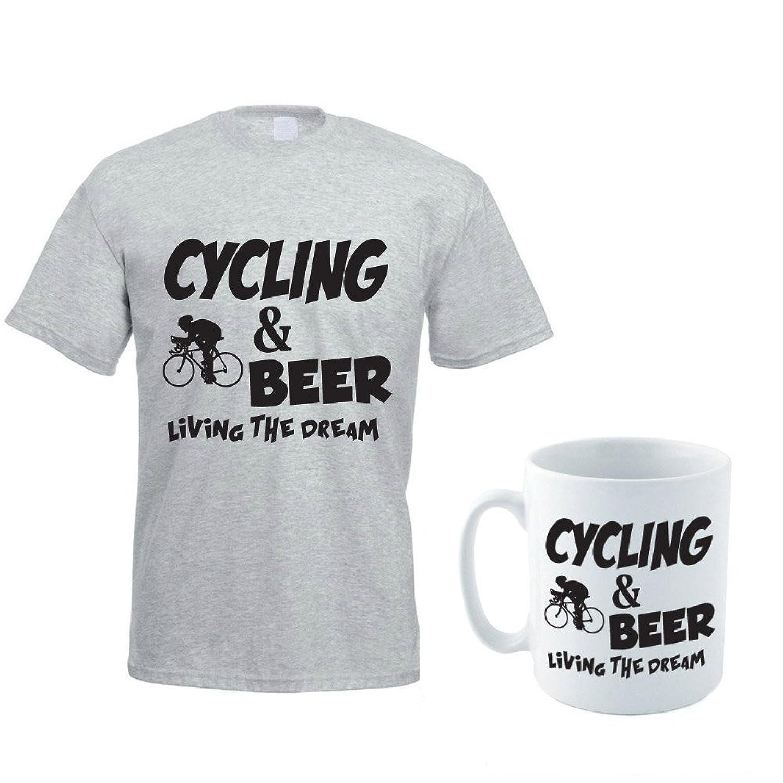 CYCLING & BEER - Cycling / Beer / Novelty / Funny Men's T-Shirt And Ceramic Mug Gift Set