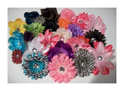Amazon 50 silk flowers mixed lot daisies lilies peonies roses 50 silk flowers mixed lot daisies lilies peonies roses bulk flowerheads for hair clips headbands mightylinksfo