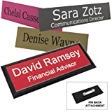 Business Name Tag / ID Badge Personalized - Laser Engraved, Pin back - CUSTOMIZE