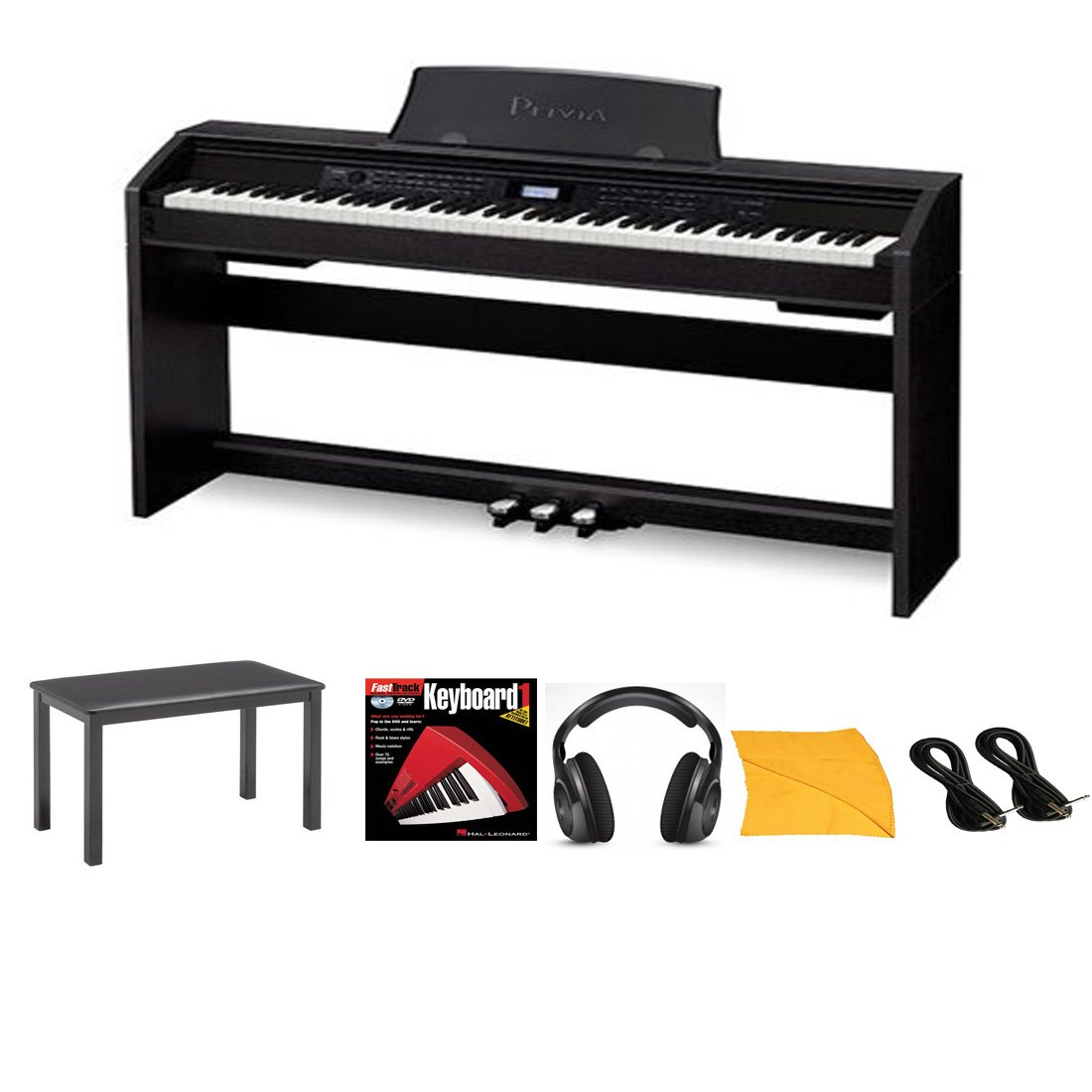 Casio PX780 Privia 88-Key Digital Home Piano in Black with X-Style Adjustable Padded Bench, Music Instruction Book, Stereo Headphone, 2 Instrument Cables and Zorro Sounds Piano Polishing Cloth