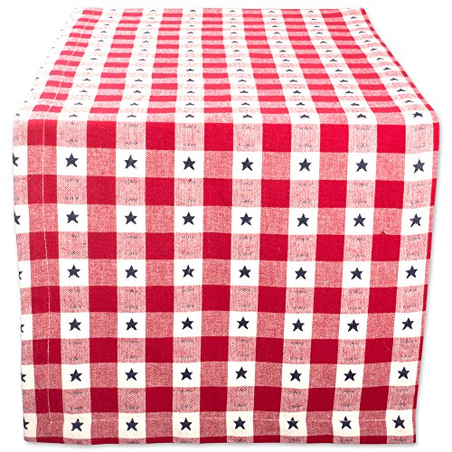 DII Cotton Table Runner for Independence Day, July 4th Party, Summer BBQ and Outdoor Picnics -14x108, Red White and Blue Star Check