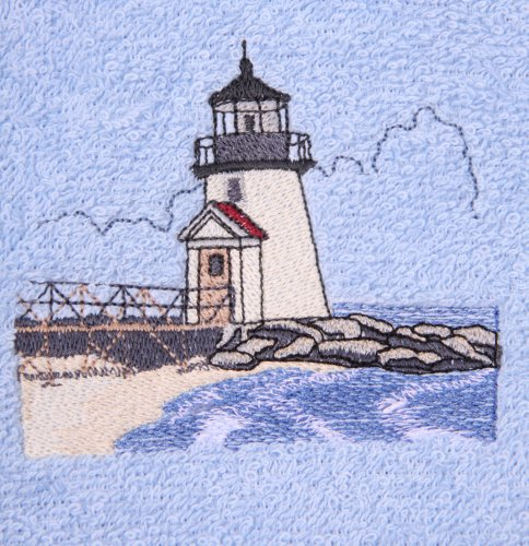 - Bath Towel Set with Embroidered Brant Point Lighthouse