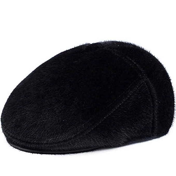 e0c2749d387 Winter Beret Caps Mens Hats Fur Warm Beret with Ear Flaps Hat Men Women  Woolen Flat