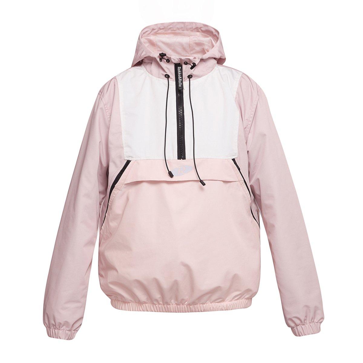 Rokka&Rolla Women's Athletic Water-Resistant Hooded Windbreaker Pullover Anorak Jacket