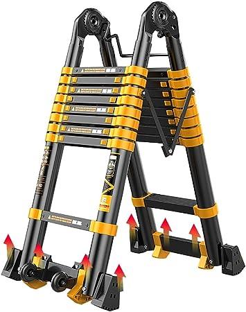 Erru Escalera Telescópica Escalera de Extensión Tipo a con Pies Antideslizantes, Escaleras Telescópicas Portátiles de Aluminio para Loft Home Office, Capacidad Máxima de 330 LB: Amazon.es: Hogar