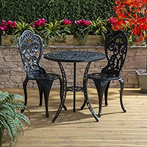 traditional cast aluminium cafe bistro outdoor garden furniture table chairs set bronze - Garden Furniture Traditional