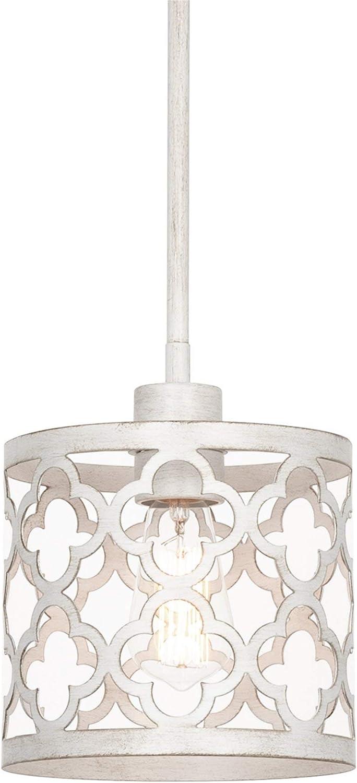 "Kira Home Sutton 9"" 1-Light Modern Pendant Light + Metal Drum Shade, Adjustable Hanging Height, Antique White Finish"