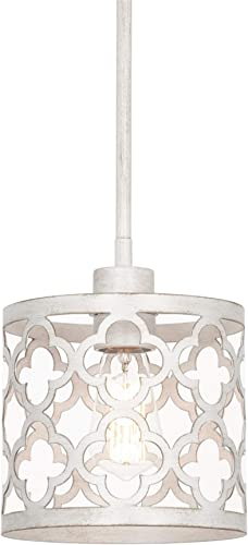 Kira Home Sutton 9 1-Light Modern Pendant Light Metal Drum Shade, Adjustable Hanging Height, Antique White Finish