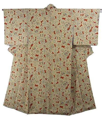リサイクル 着物 小紋  皿文に蝶や花模様 縮緬 正絹 袷 裄63cm 身丈142cm