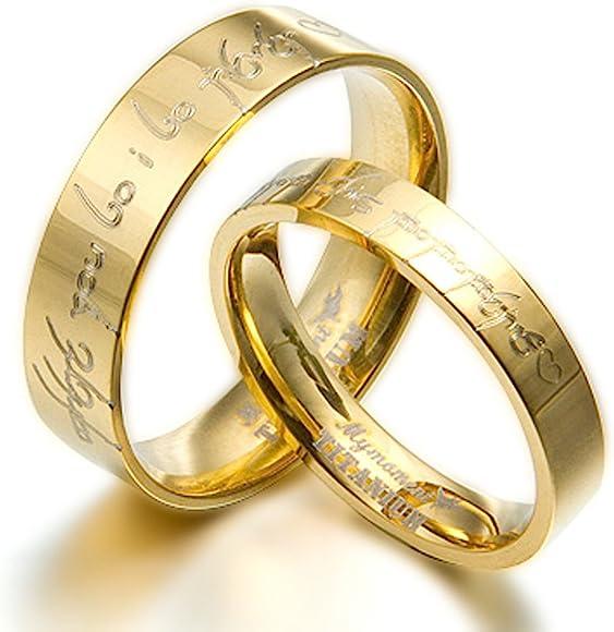 15 Women Ring Size Gemini Groom /& Bride 18K Gold Filled Anniversary Wedding Titanium Rings Set Width 6mm /& 4mm Men Ring Size 5.5
