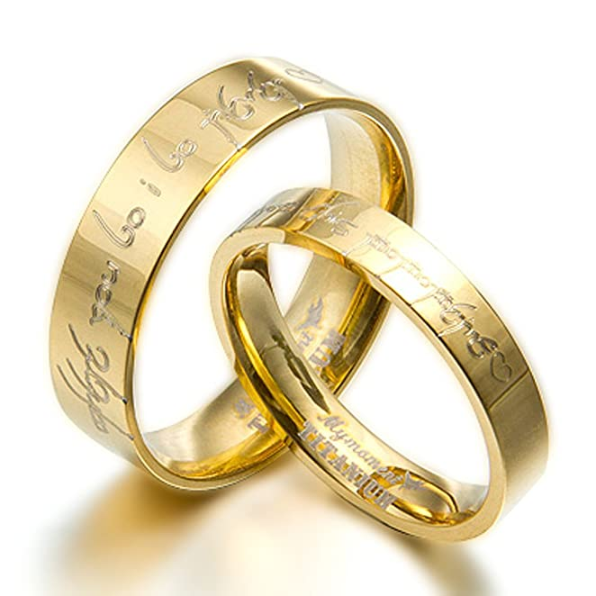 Lord Of The Rings Matching 18K Gold Filled Wedding Rings - LOTR
