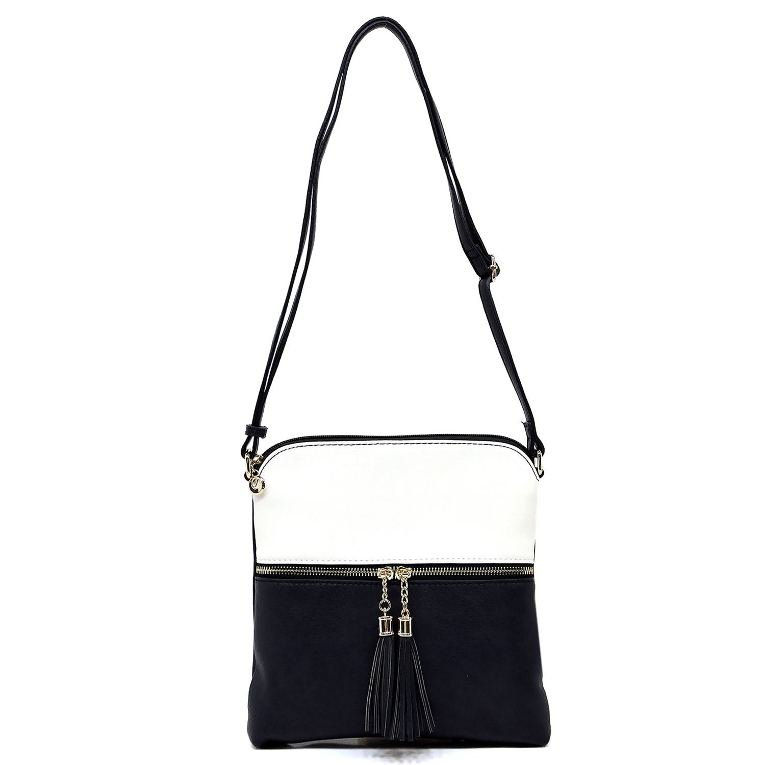 Women's Rich Faux Leather Light Weight Medium Crossbody Bag and Large Capacity Purse Organize with Adjustable Shoulder Strap (WHITE/DEEP SEA)