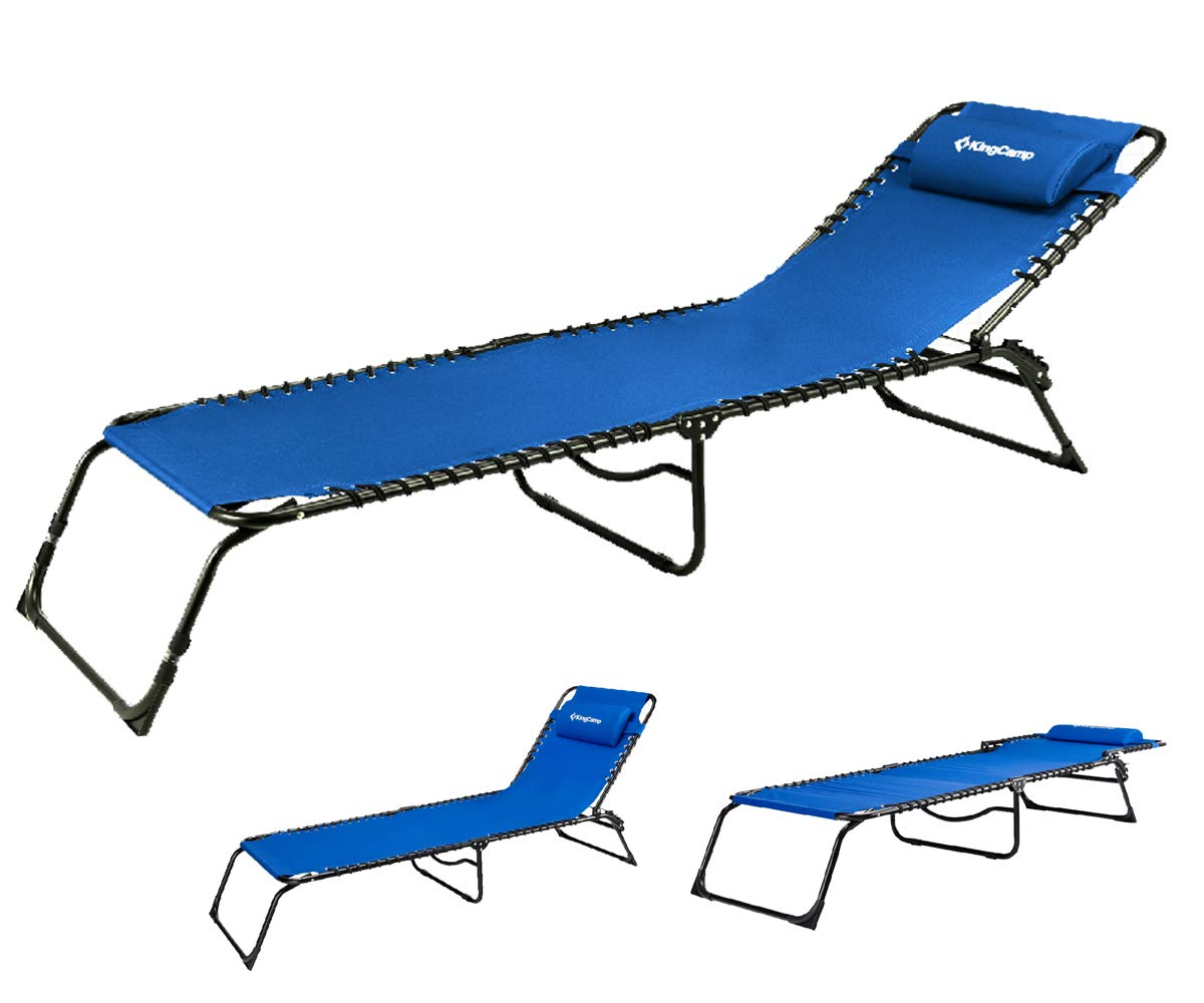 KingCamp Chaise Lounge Folding Cot Camping Adjustable Recliner Sunbathing Beach Pool Bed Cot with Pillow (Blue)