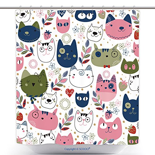 Decorative Shower Curtains Hand Drawn Kitty Cat Wallpaper Illustration 225588889 Polyester Bathroom Shower Curtain Set With Hooks (Nautica Bathroom Sets)