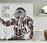 Outer Space Decor Shower Curtain by Ambesonne, Funny Love Quote with a Floral Head Cosmonaut Pilot Man Humor Illustration, Fabric Bathroom Decor Set with Hooks, 75 Inches Long, Multi