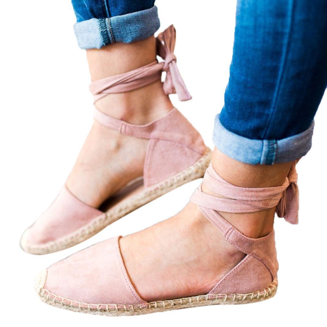 Igemy Lace-up Espadrilles fuuml;r Damen Strap Walking Sandalen Casual Shopping Schuhe  37 EU|Rosa