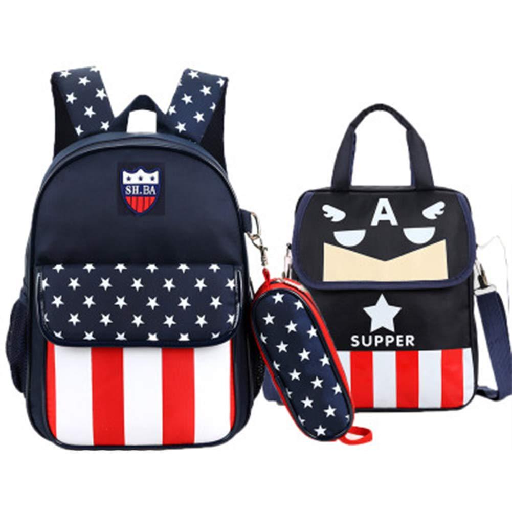 かわいい子供のバックパックキャンバスプリント小学校バッグを着用 B07QHCD2L5 Dark blue S2