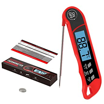 BLACK Red Digital Food Thermometer LCD Meat Probe Kitchen Cooking BBQ Turkey