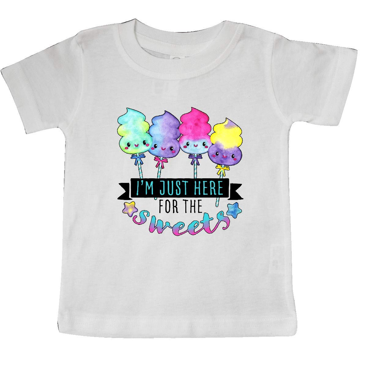 inktastic Im Just Here for The Sweets with Spun Sugar Candy Baby T-Shirt