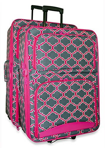 Ever Moda Moroccan 2 Piece Luggage Set (Pink) by Ever Moda
