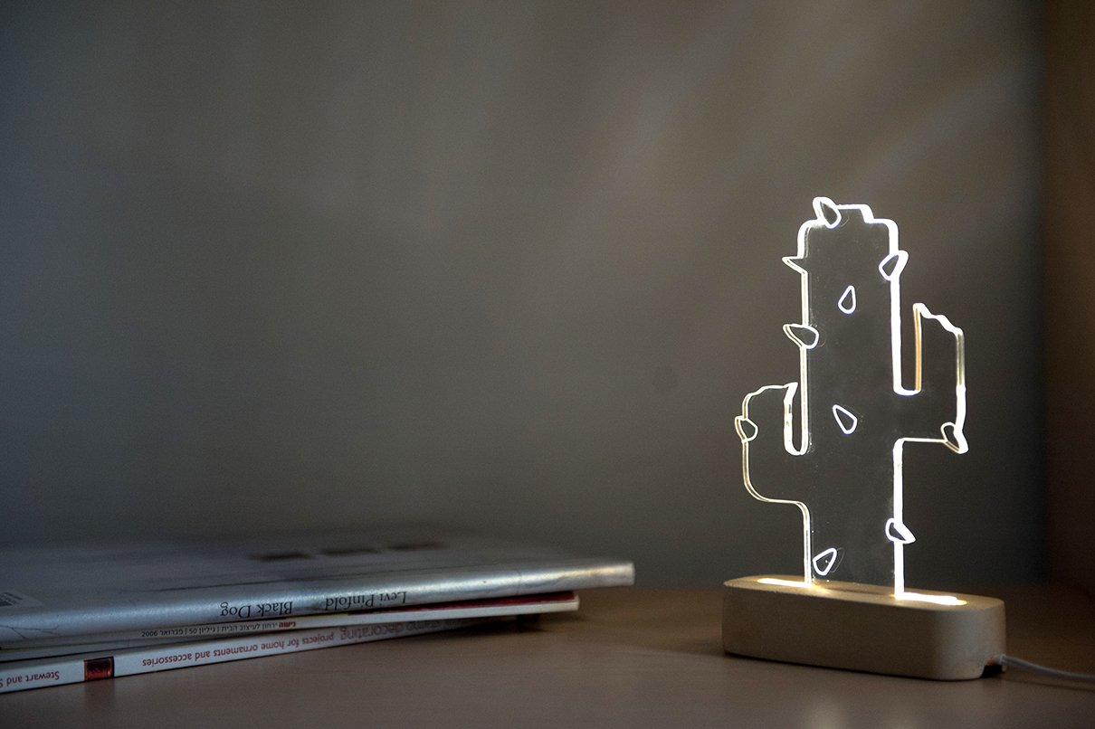 Modern concrete cactus lamp, Geometric LED lamp ,concrete table lamp, plant night light, desert themed decorative lamp